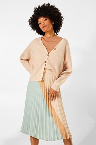 Plissé skirt in a colour block style