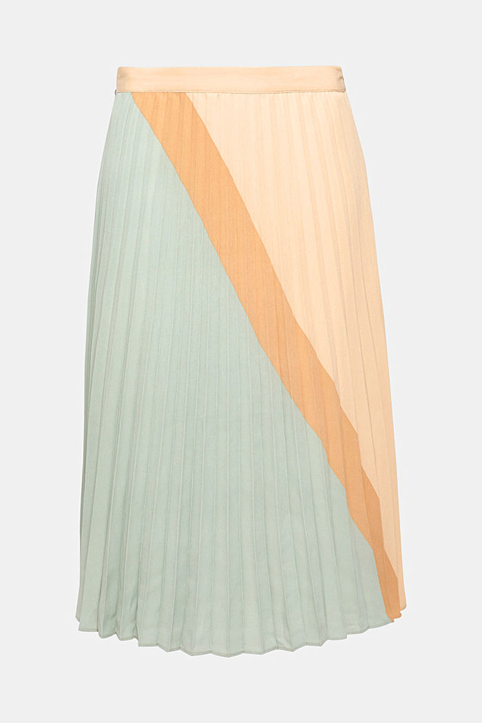 Plissé skirt in a colour block style, LIGHT AQUA GREEN, overview