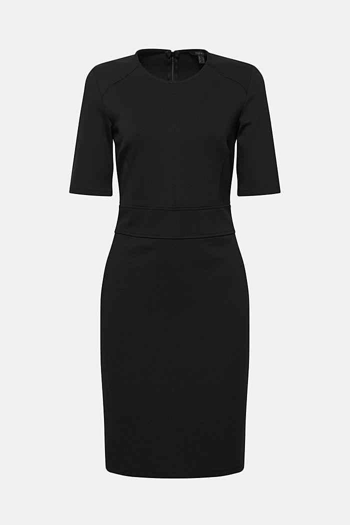 Vestido elástico de jersey compacto, BLACK, detail image number 0
