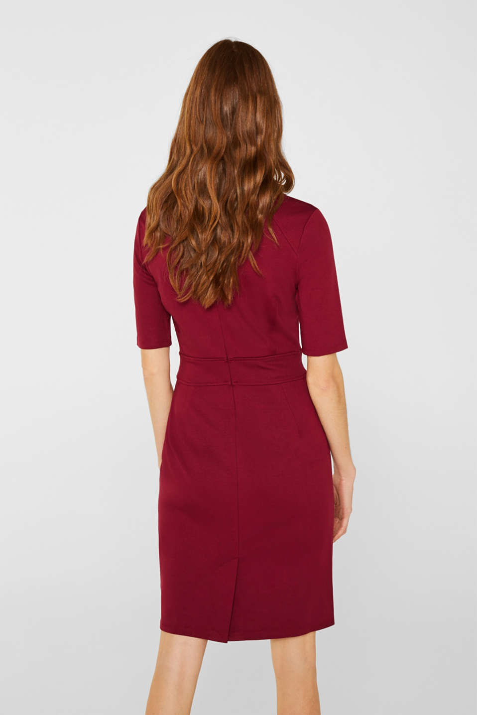 Stretch dress made of dense punto jersey, GARNET RED, detail image number 1