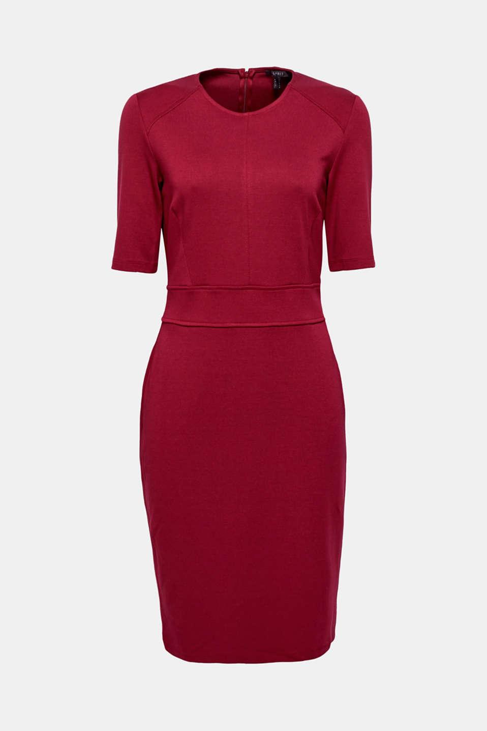 Stretch dress made of dense punto jersey, GARNET RED, detail image number 4