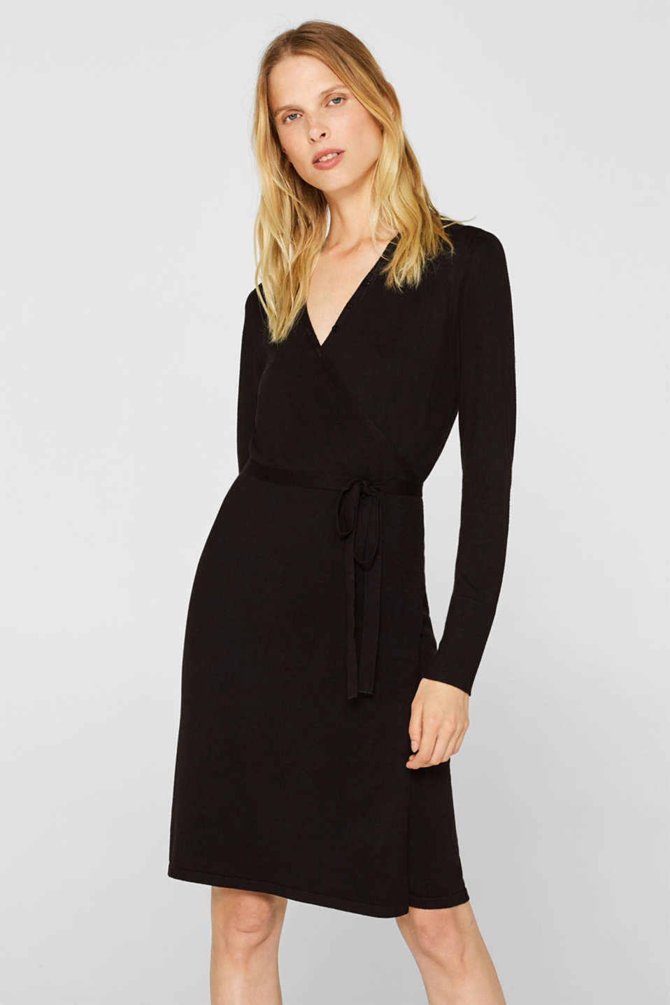 Esprit - Wrap-over knit dress with LENZING™ ECOVERO™