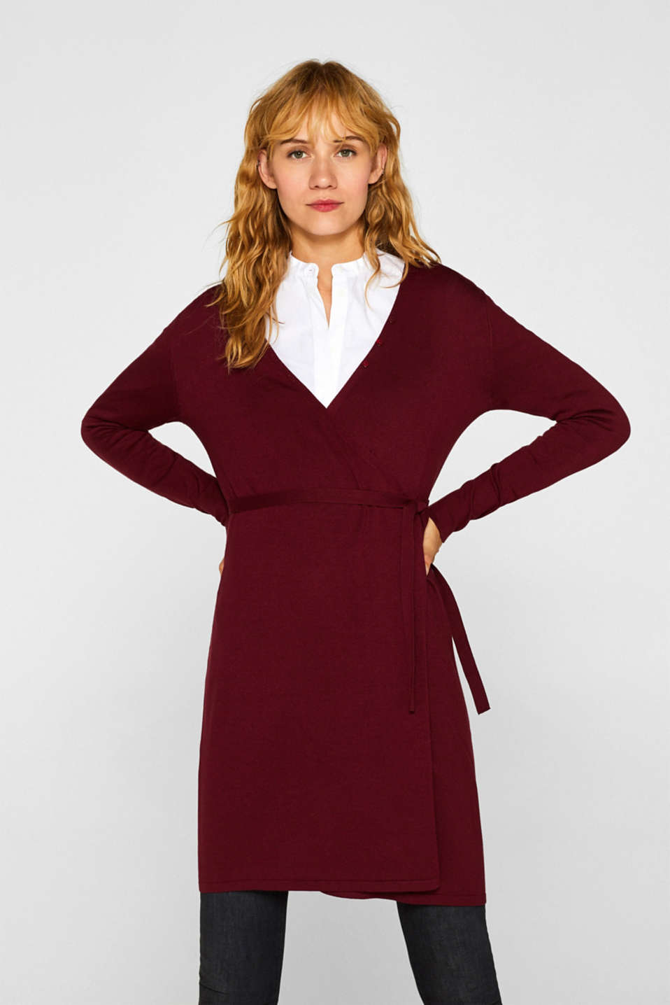 Wrap-over knit dress with LENZING™ ECOVERO™, GARNET RED, detail image number 0