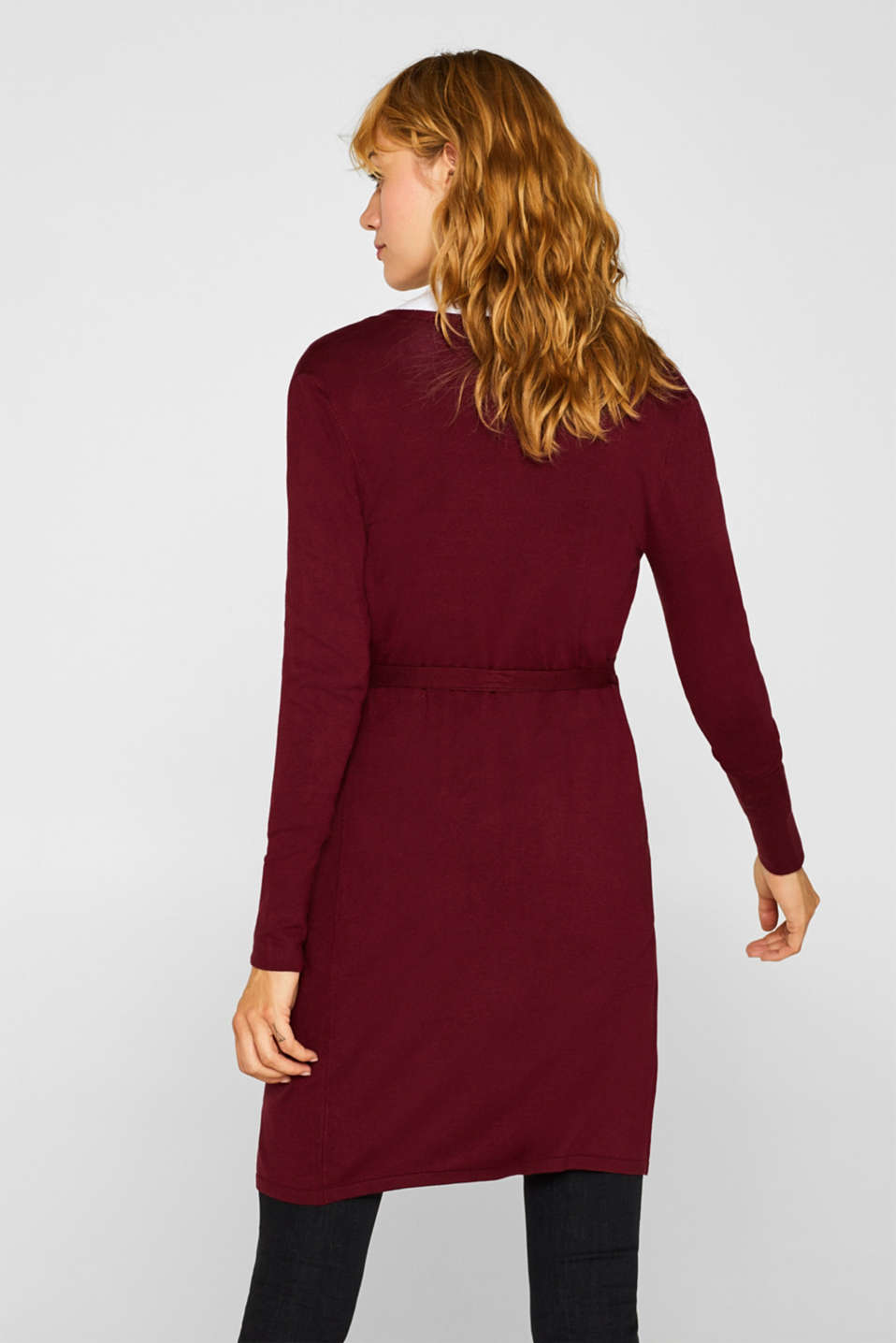 Wrap-over knit dress with LENZING™ ECOVERO™, GARNET RED, detail image number 2