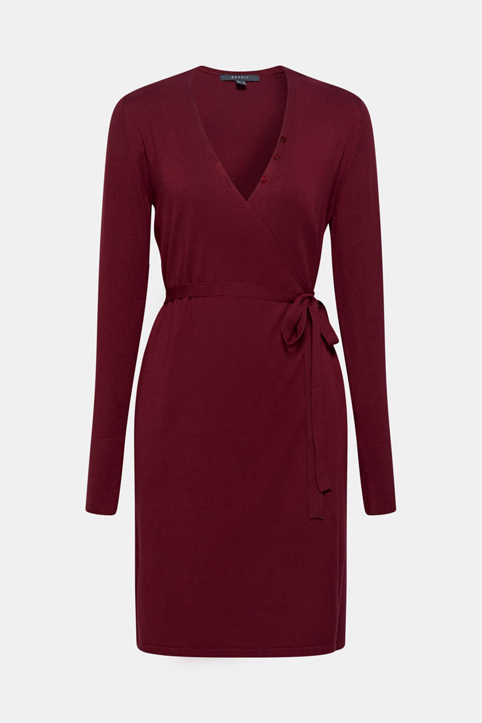 Wrap-over knit dress with LENZING™ ECOVERO™, GARNET RED, detail image number 7