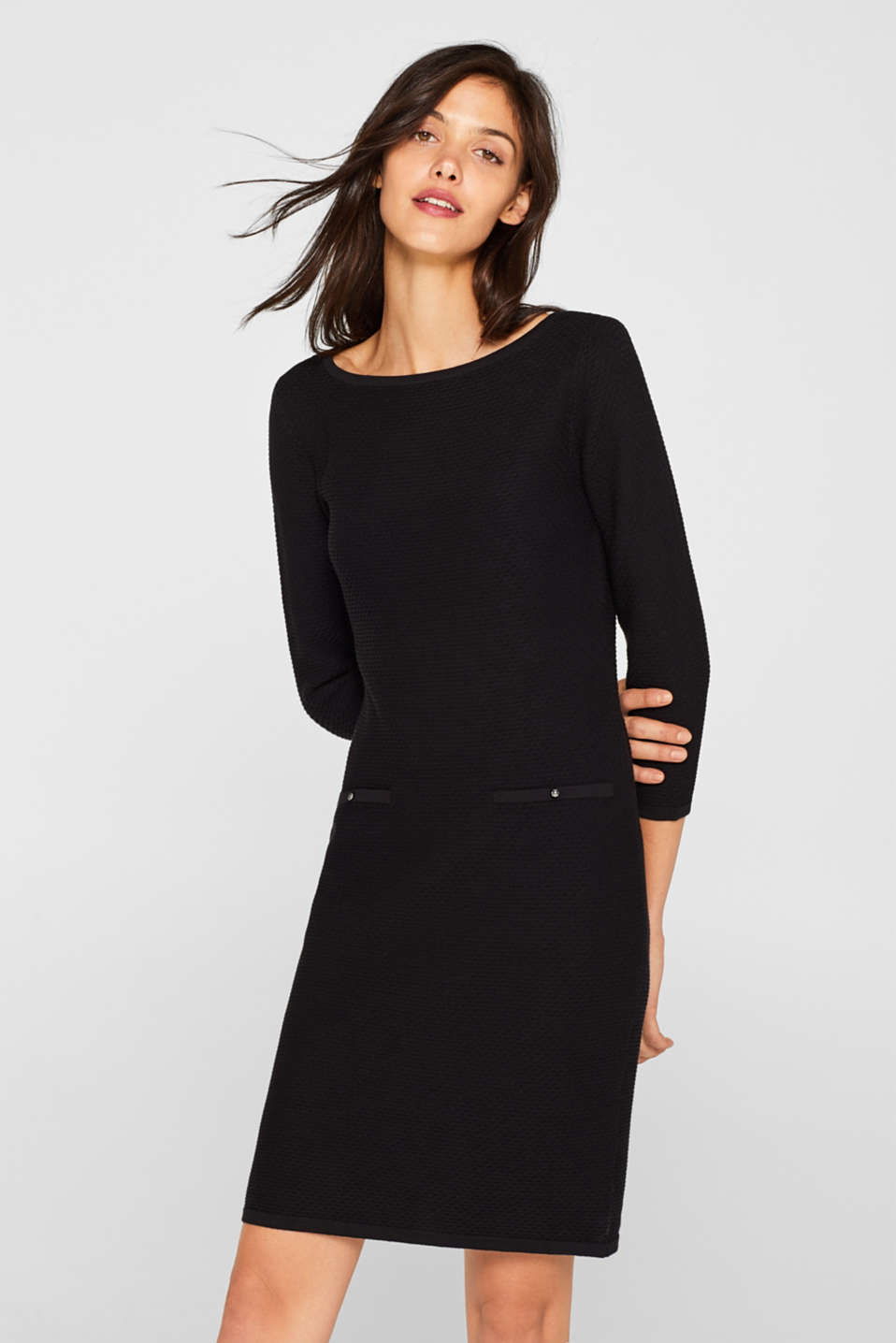 Esprit - Textured knitted dress with decorative buttons