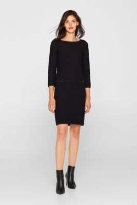 Textured knitted dress with decorative buttons, BLACK, detail