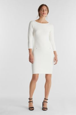 Textured knitted dress with decorative buttons, OFF WHITE, detail