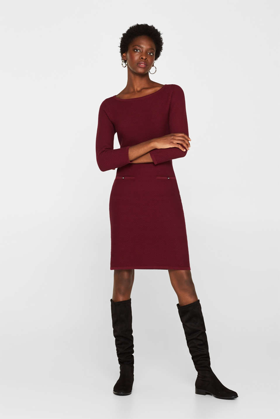 Textured knitted dress with decorative buttons, GARNET RED, detail image number 1