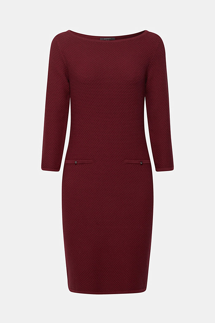 Textured knitted dress with decorative buttons