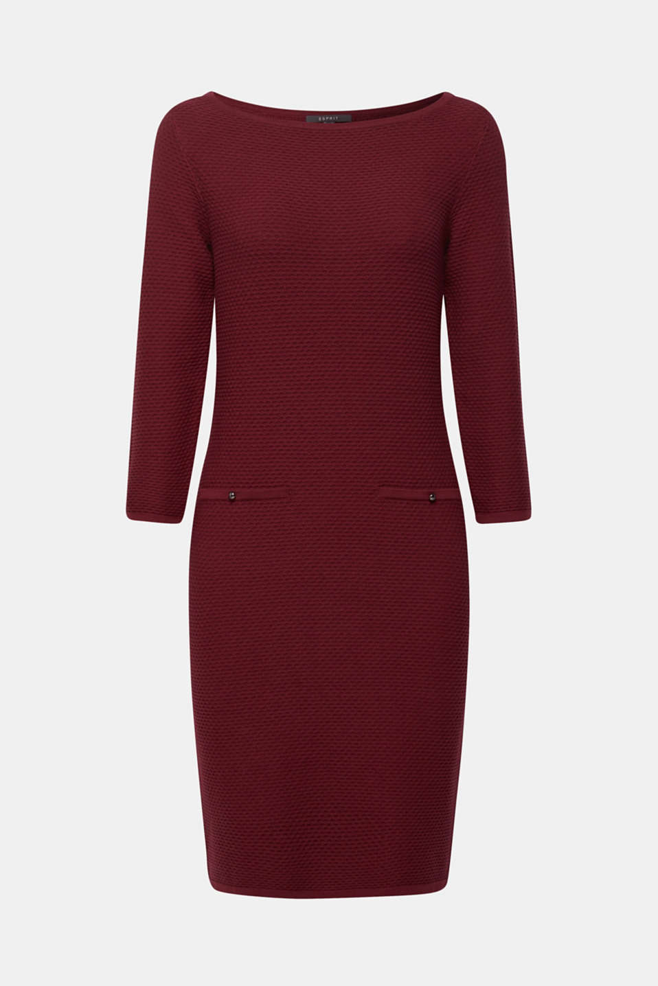 Textured knitted dress with decorative buttons, GARNET RED, detail image number 6