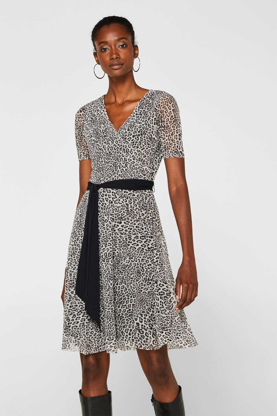 Esprit - Wrap-effect mesh dress