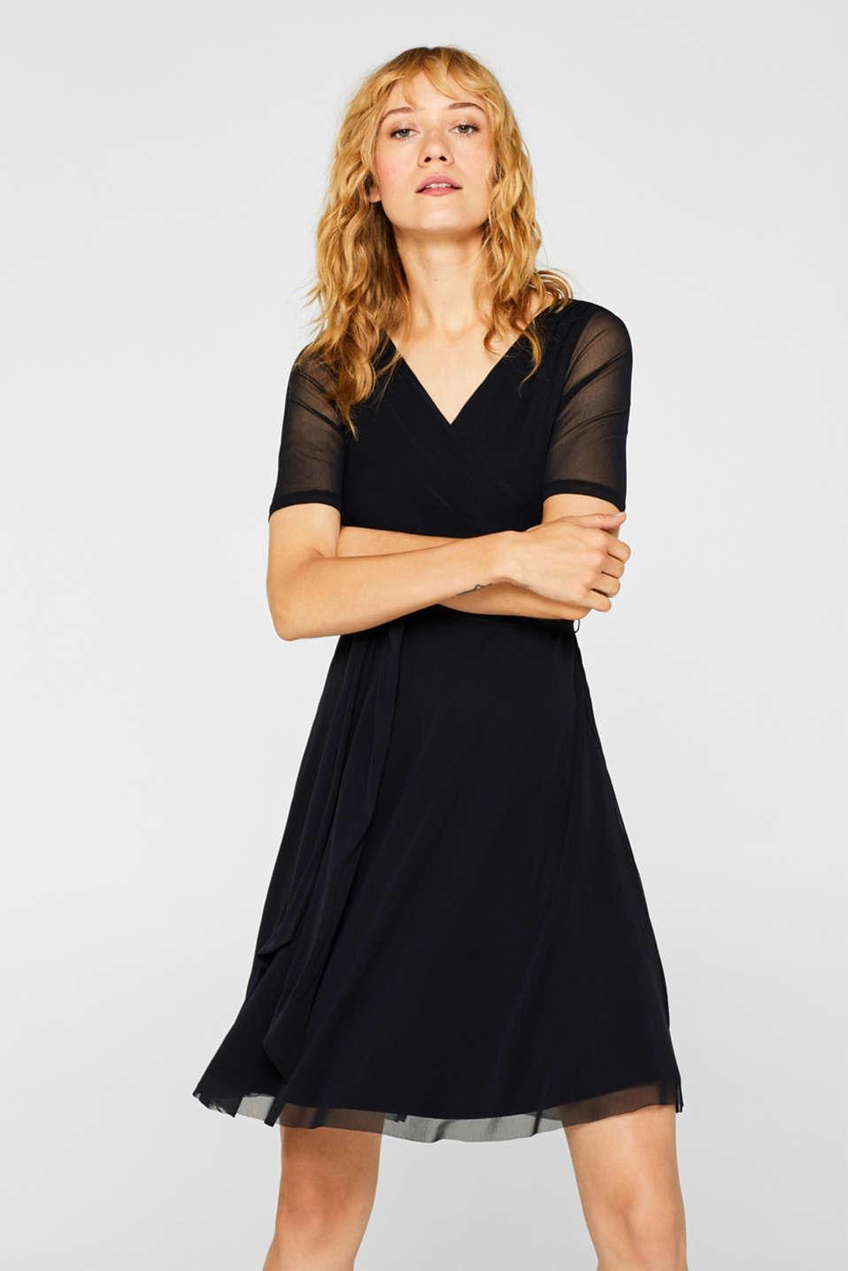 Wrap-effect mesh dress, BLACK, detail image number 0