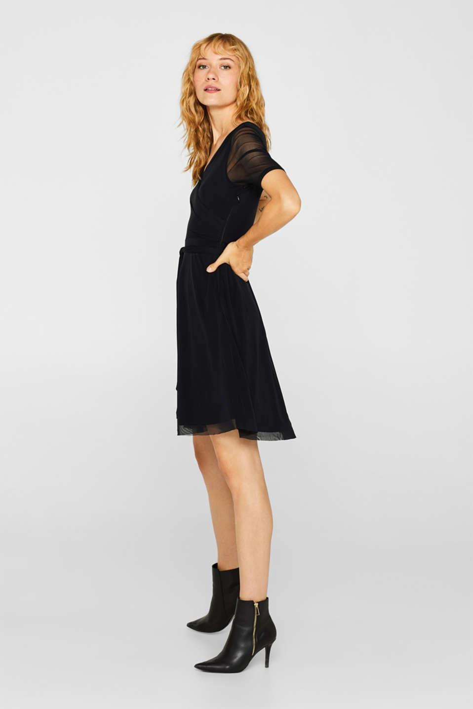 Wrap-effect mesh dress, BLACK, detail image number 1