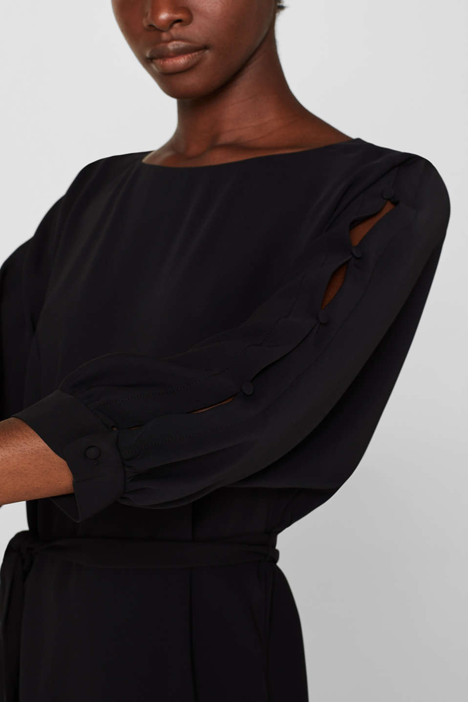 Woven dress with batwing sleeves and a tie-around belt, BLACK, detail image number 3
