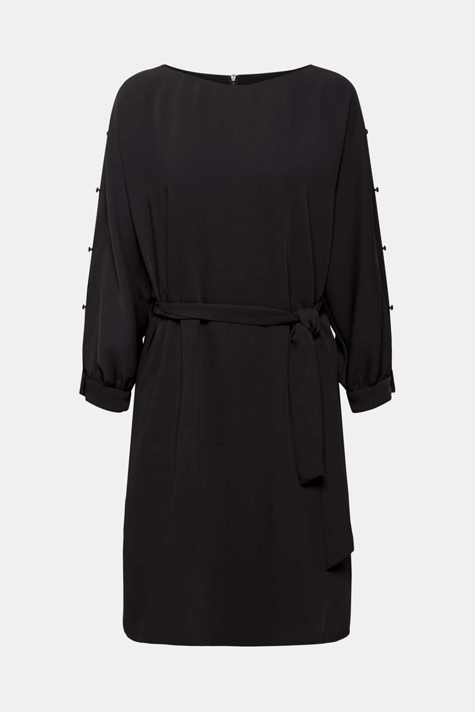Woven dress with batwing sleeves and a tie-around belt, BLACK, detail image number 6