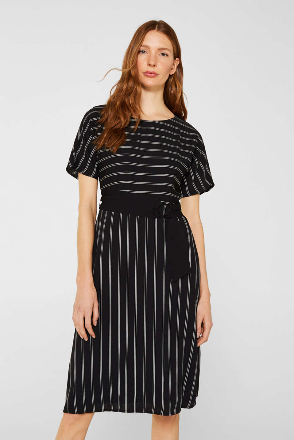 Esprit - Striped dress with raglan sleeves and a belt