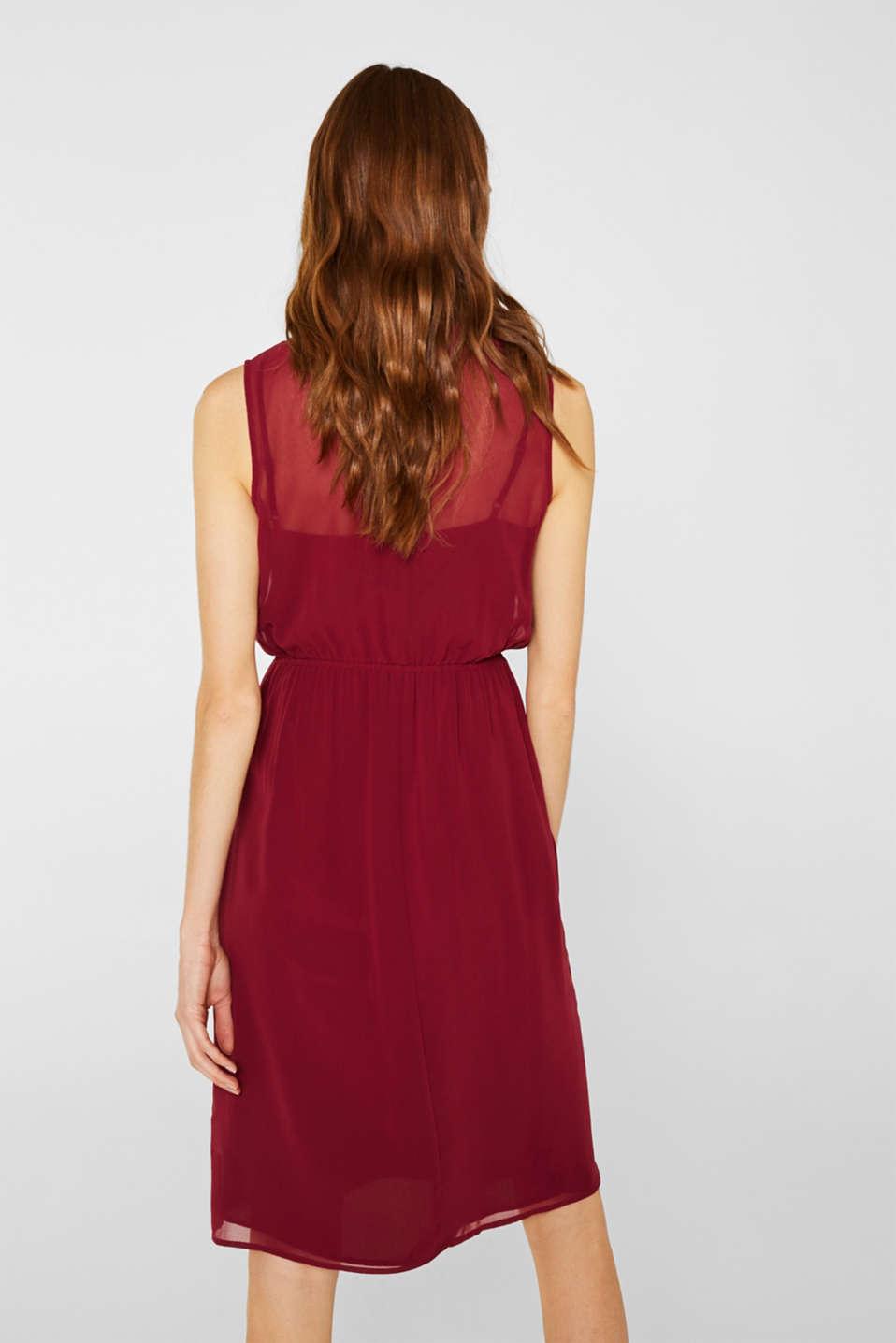 Chiffon dress with slip, GARNET RED, detail image number 2