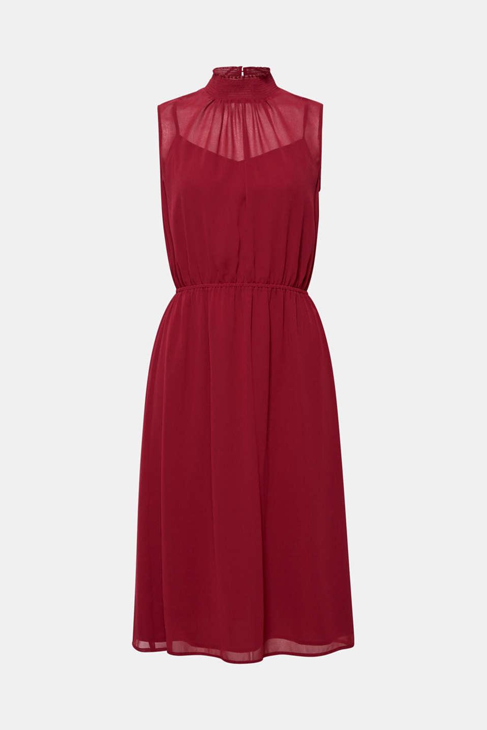 Chiffon dress with slip, GARNET RED, detail image number 6