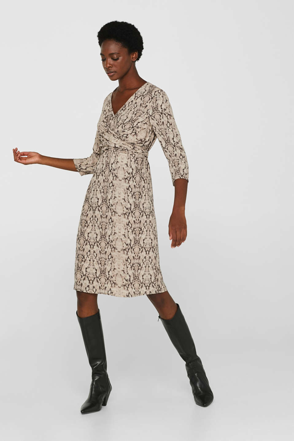 Wrap-over dress with a snake print, TAUPE, detail image number 0