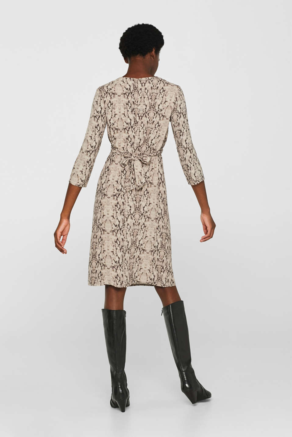 Wrap-over dress with a snake print, TAUPE, detail image number 3