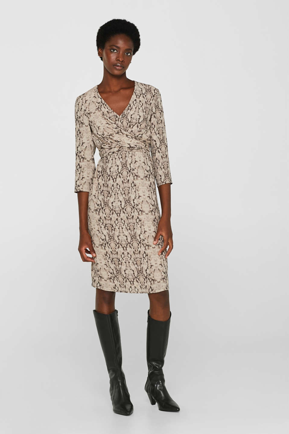 Wrap-over dress with a snake print, TAUPE, detail image number 1