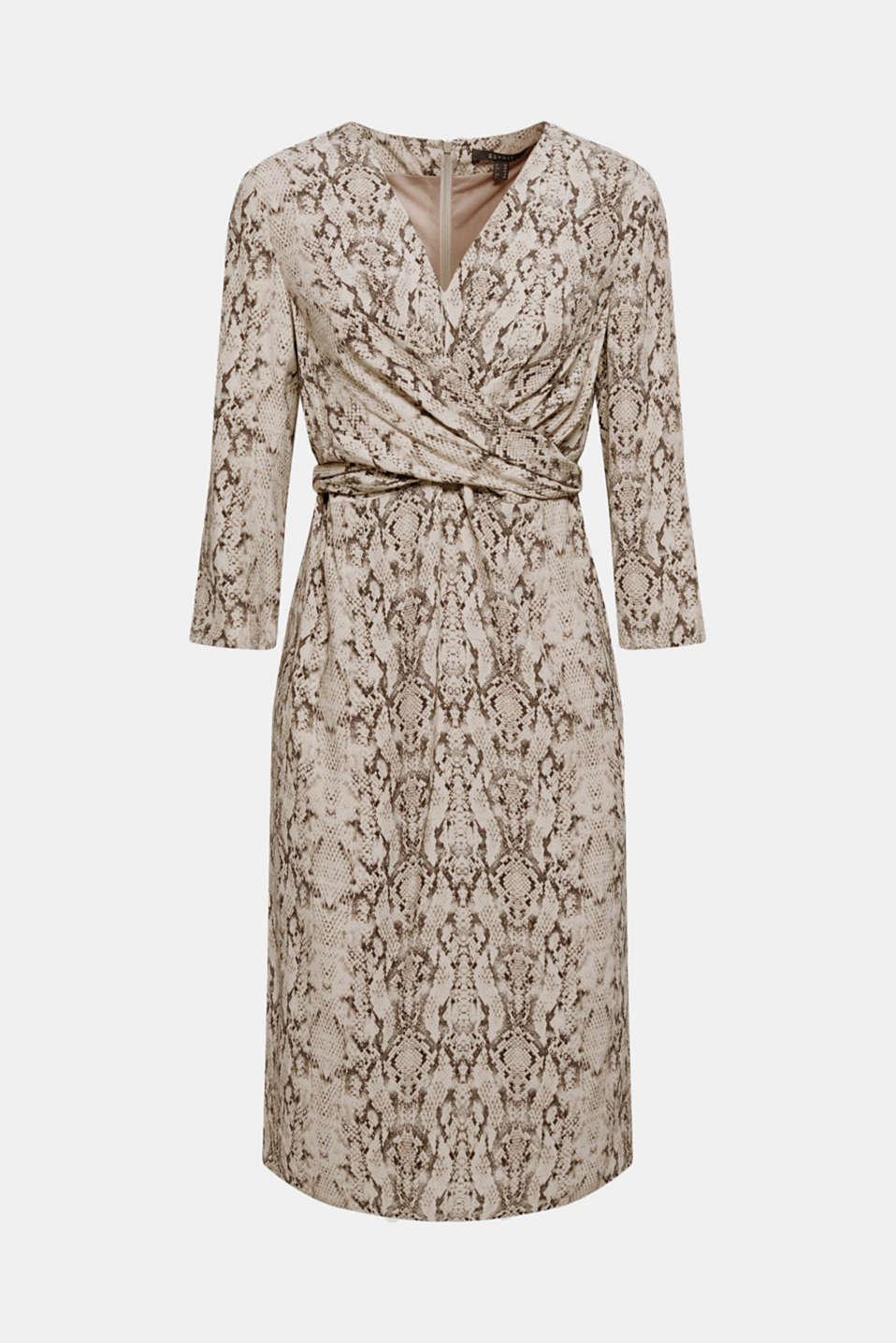 Wrap-over dress with a snake print, TAUPE, detail image number 6