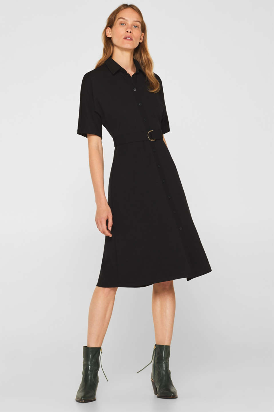 Jersey dress with fabric details, BLACK, detail image number 0