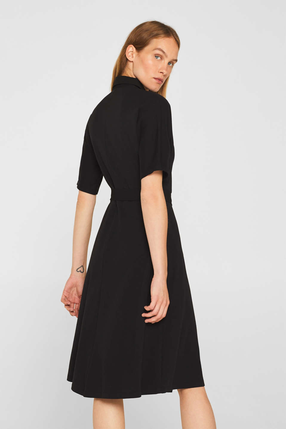 Jersey dress with fabric details, BLACK, detail image number 2