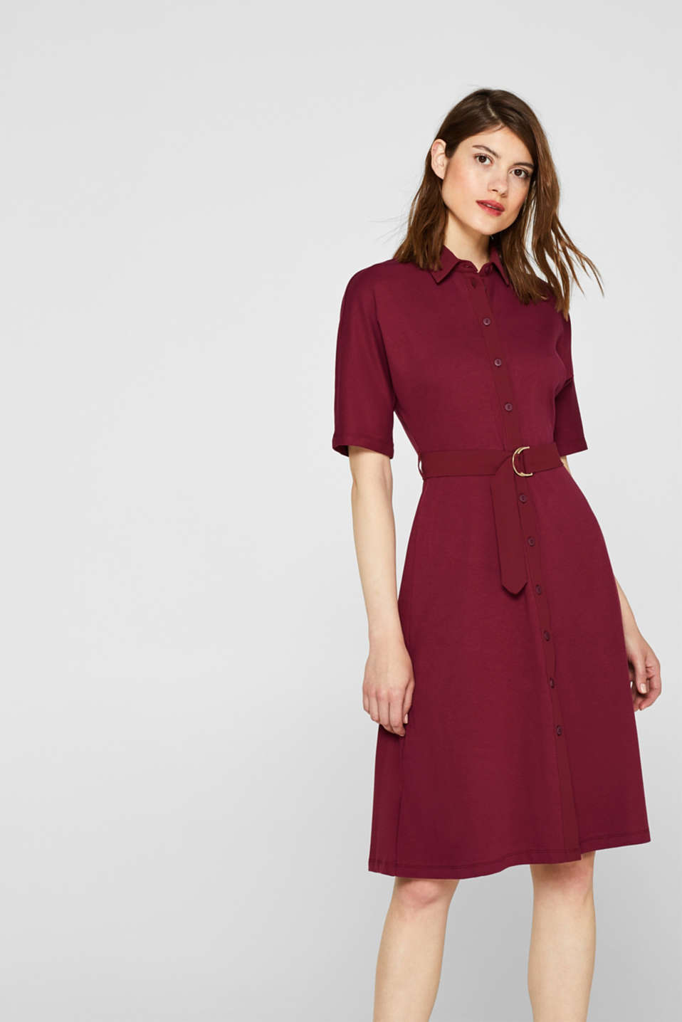 Jersey dress with fabric details, GARNET RED, detail image number 0