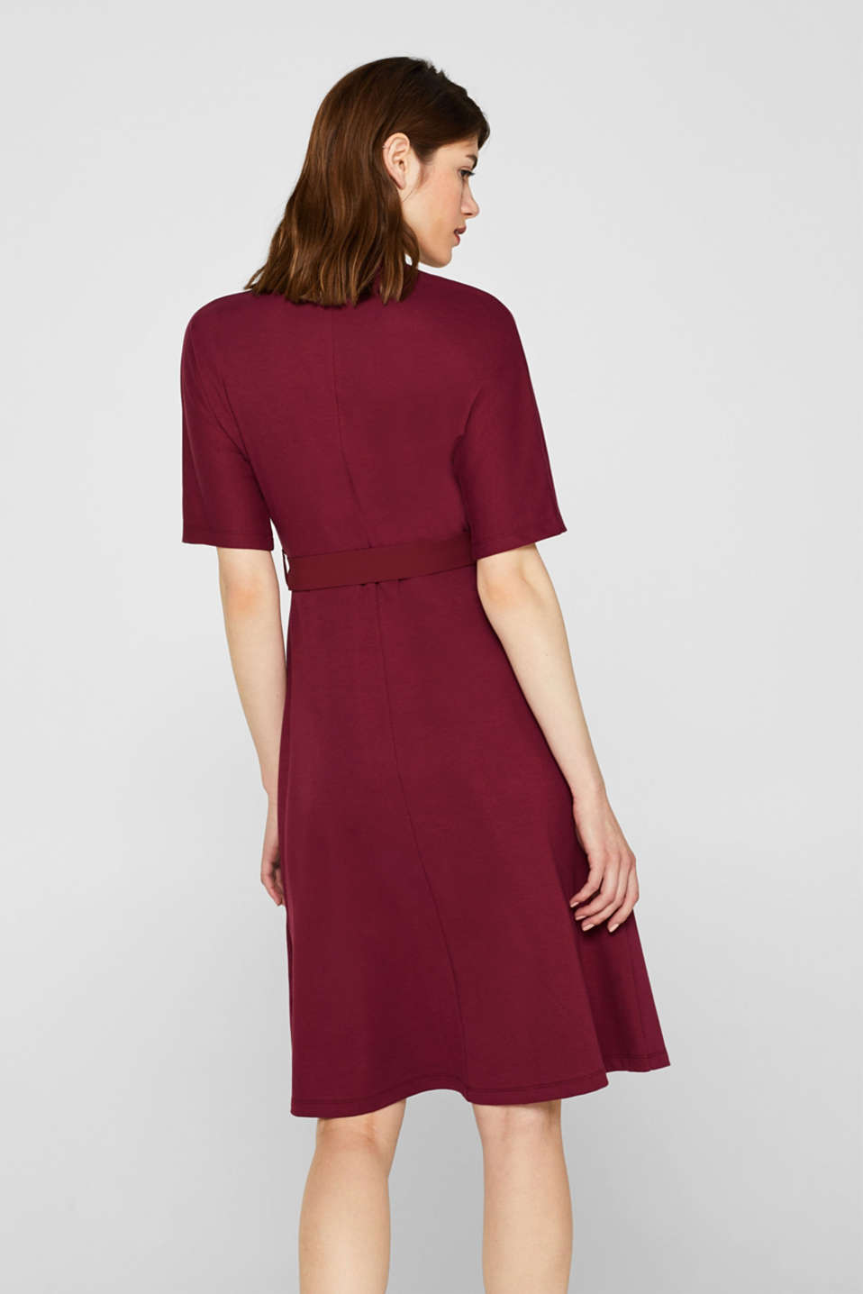 Jersey dress with fabric details, GARNET RED, detail image number 2