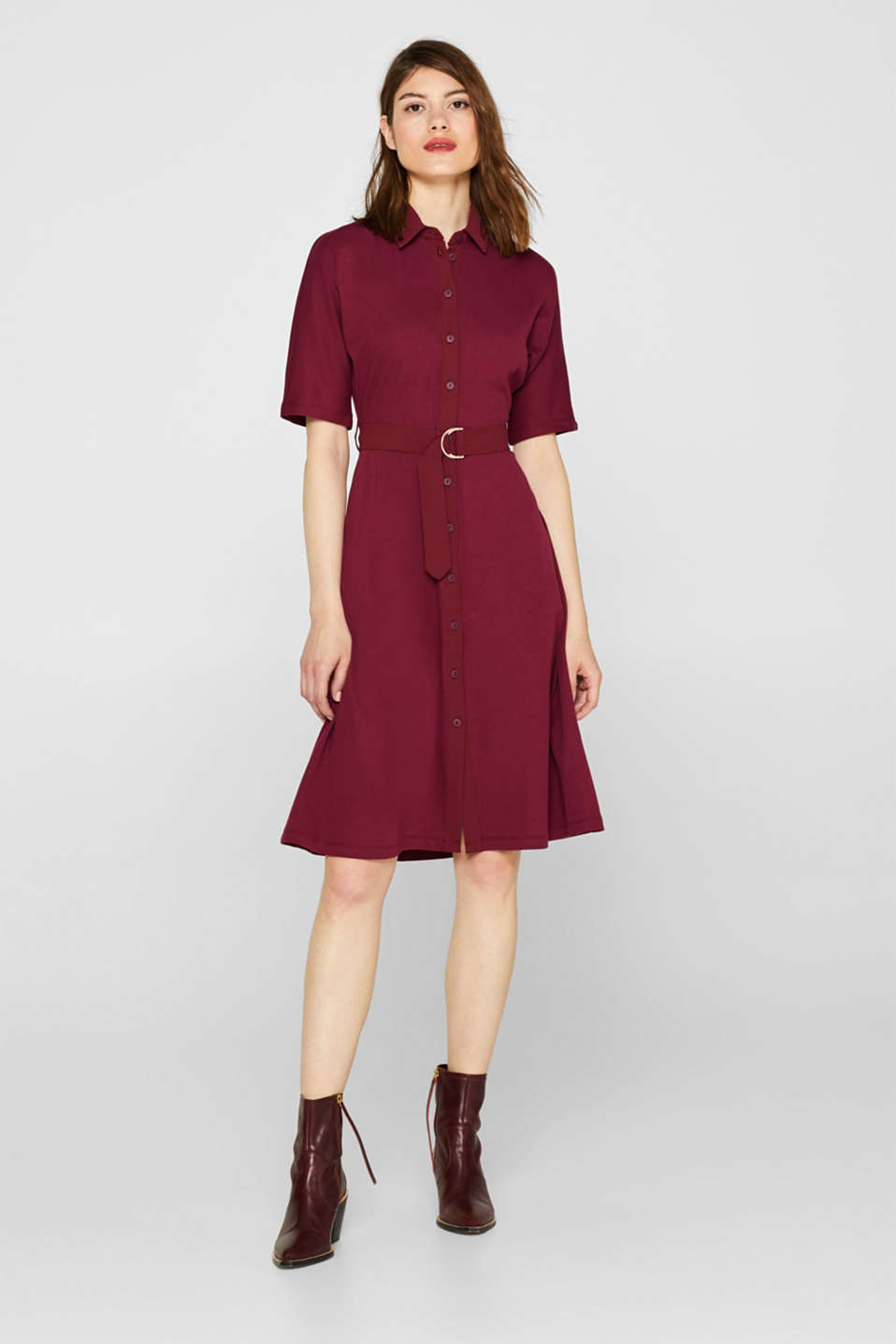 Jersey dress with fabric details, GARNET RED, detail image number 1