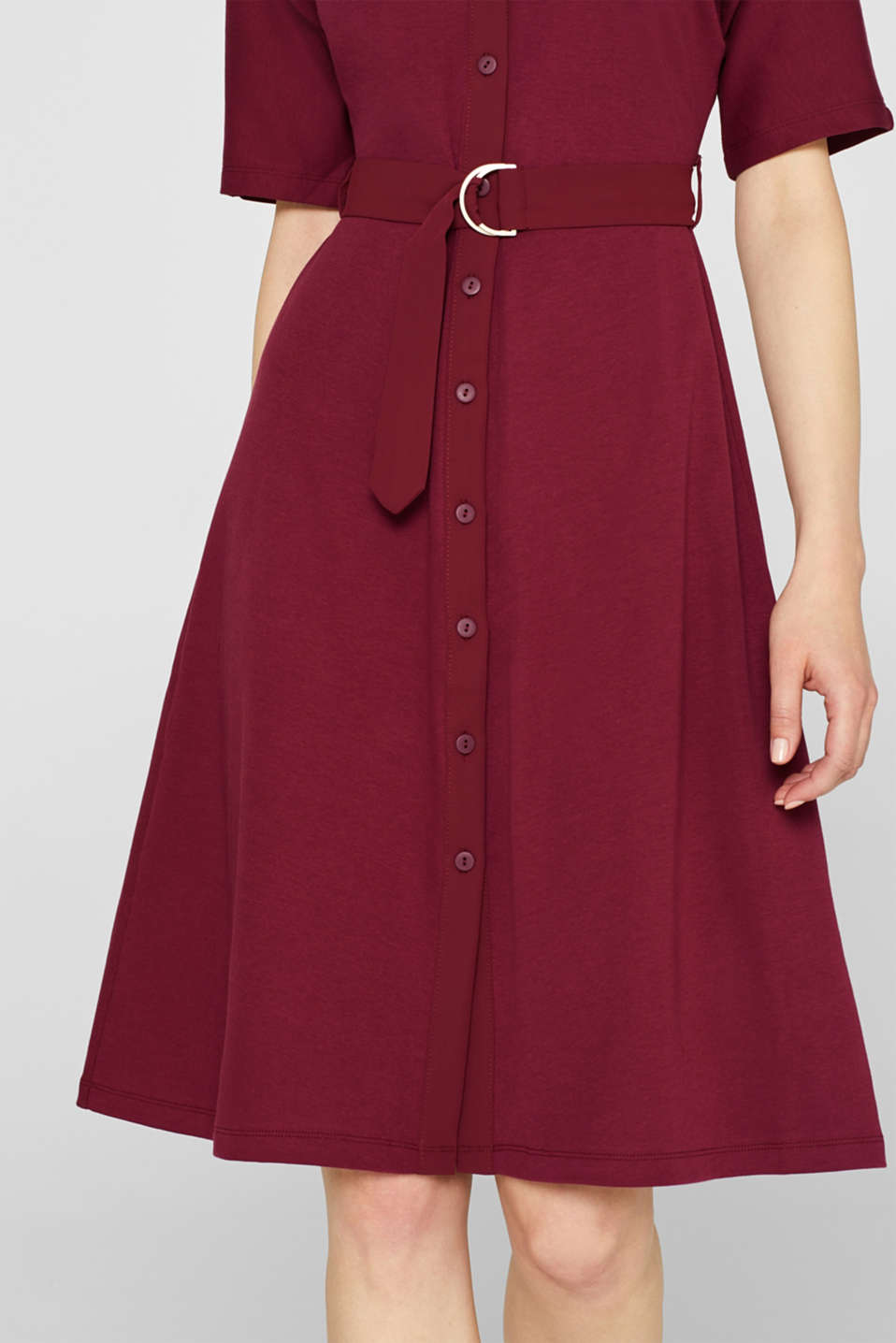 Jersey dress with fabric details, GARNET RED, detail image number 3