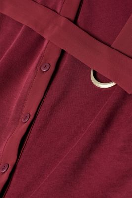 Jersey dress with fabric details, GARNET RED, detail