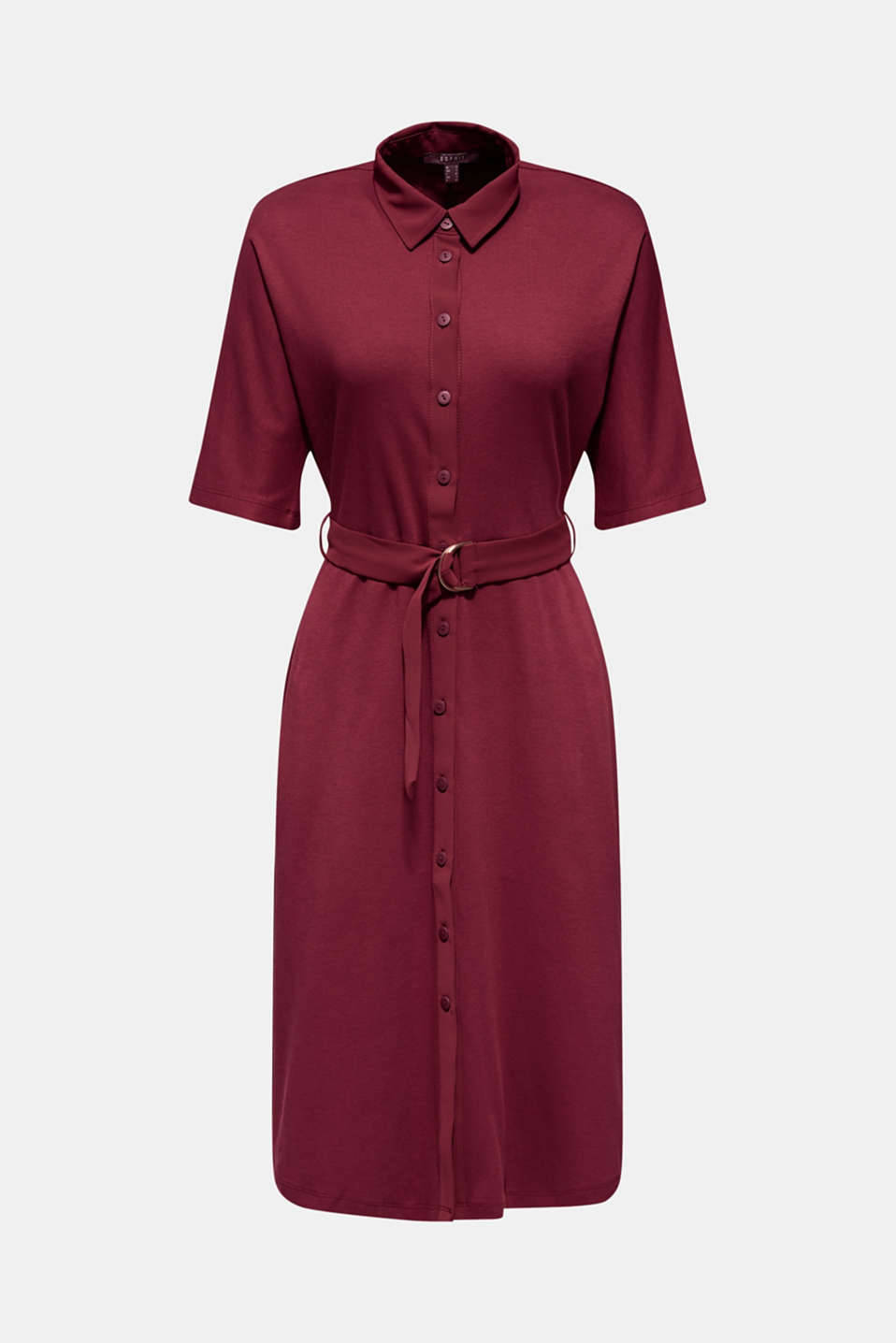 Jersey dress with fabric details, GARNET RED, detail image number 6
