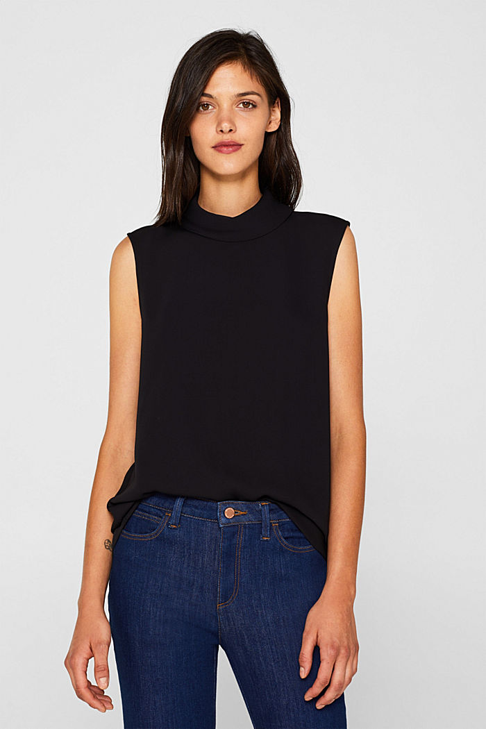 Blouse top with a turn-down collar
