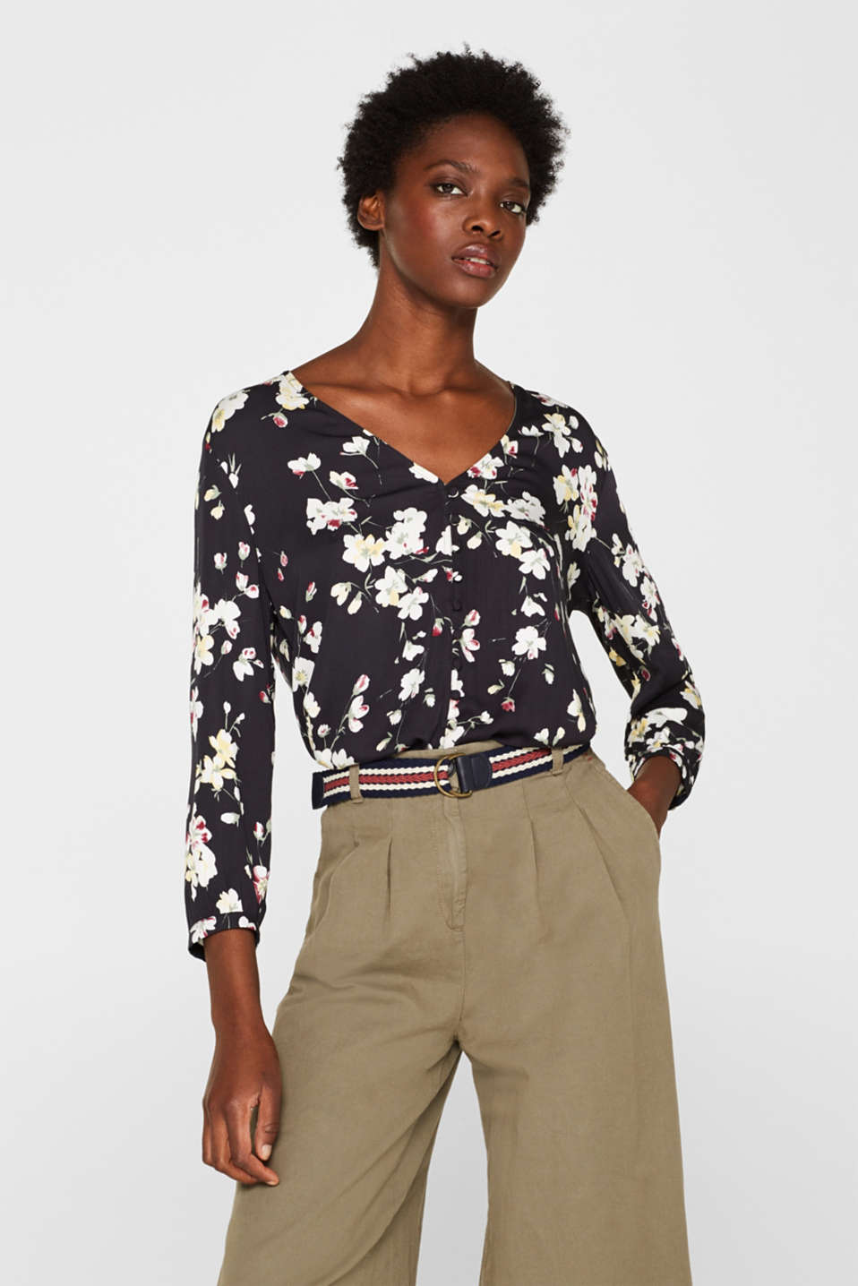 Esprit - Printed blouse with a decorative button placket