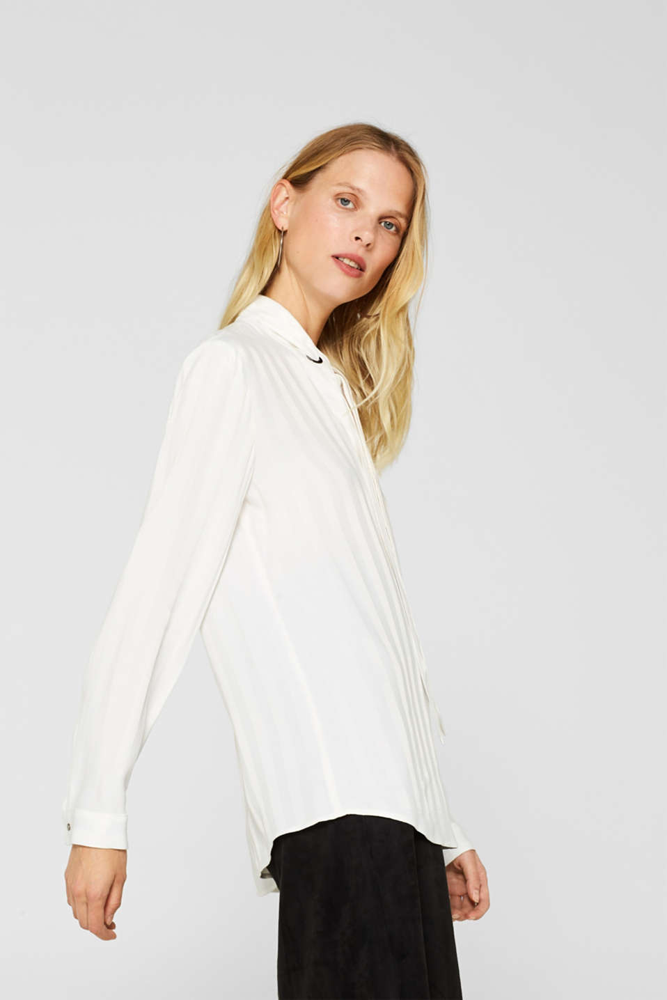 Pussycat bow blouse with matte-sheen stripes, OFF WHITE, detail image number 5
