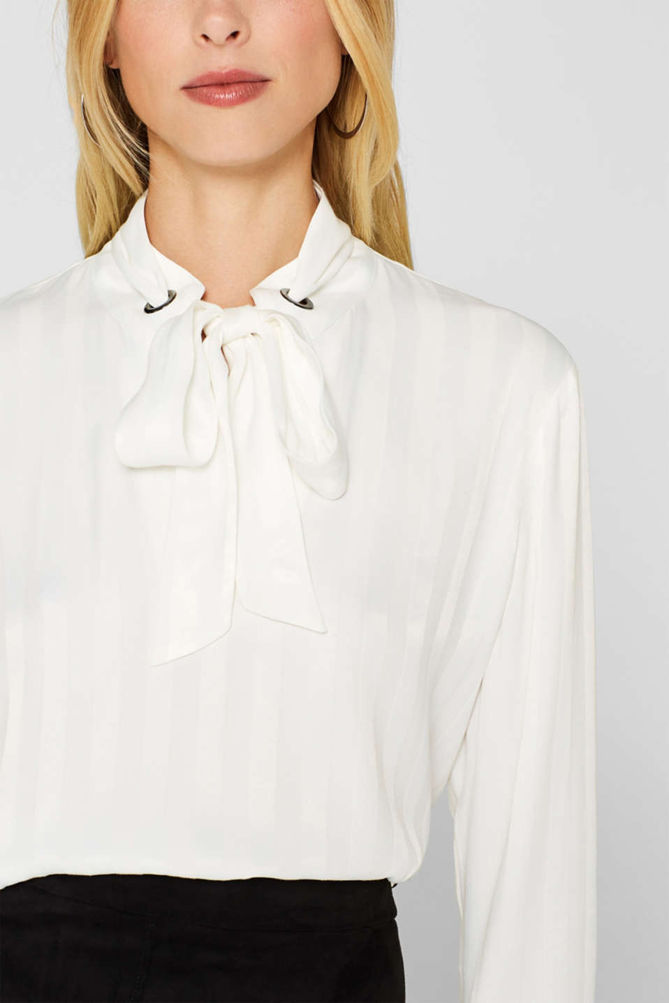 Pussycat bow blouse with matte-sheen stripes, OFF WHITE, detail image number 2