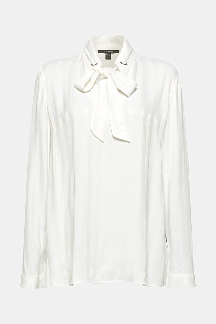 Pussycat bow blouse with matte-sheen stripes, OFF WHITE, detail image number 0