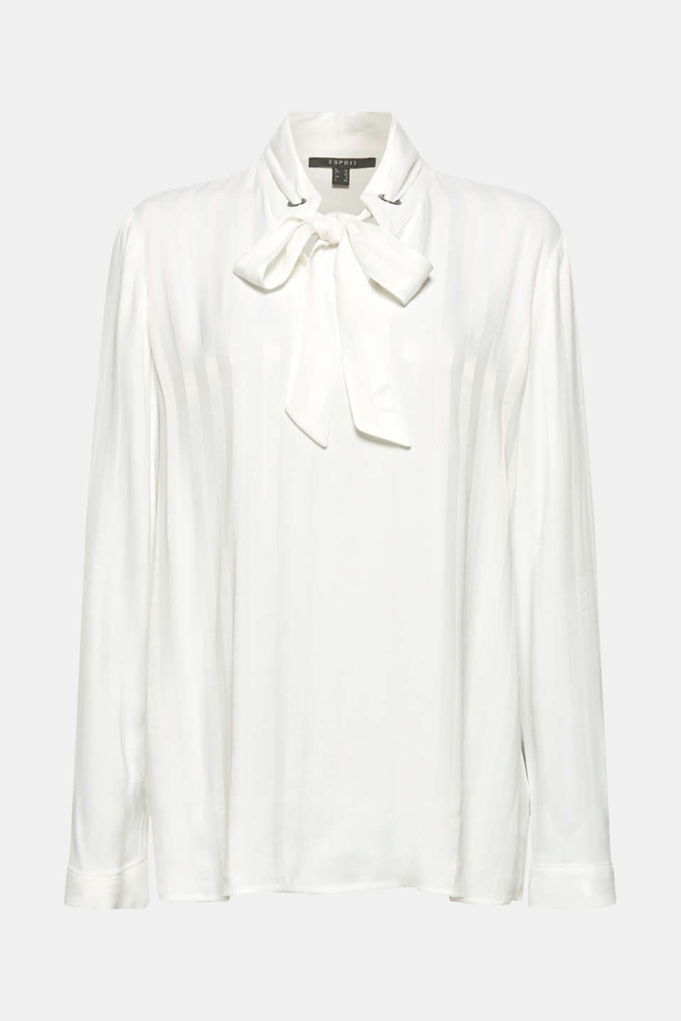 Pussycat bow blouse with matte-sheen stripes, OFF WHITE, detail image number 7