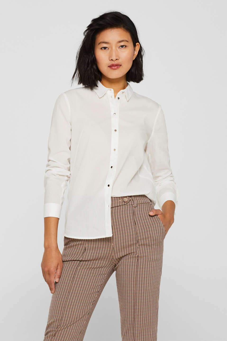 Semi-sheer striped blouse, 100% cotton, OFF WHITE, detail image number 0