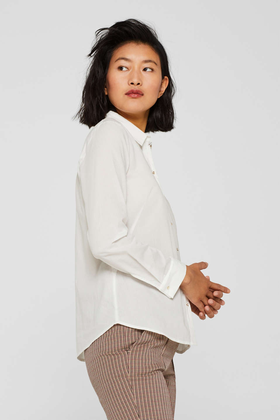Semi-sheer striped blouse, 100% cotton, OFF WHITE, detail image number 4
