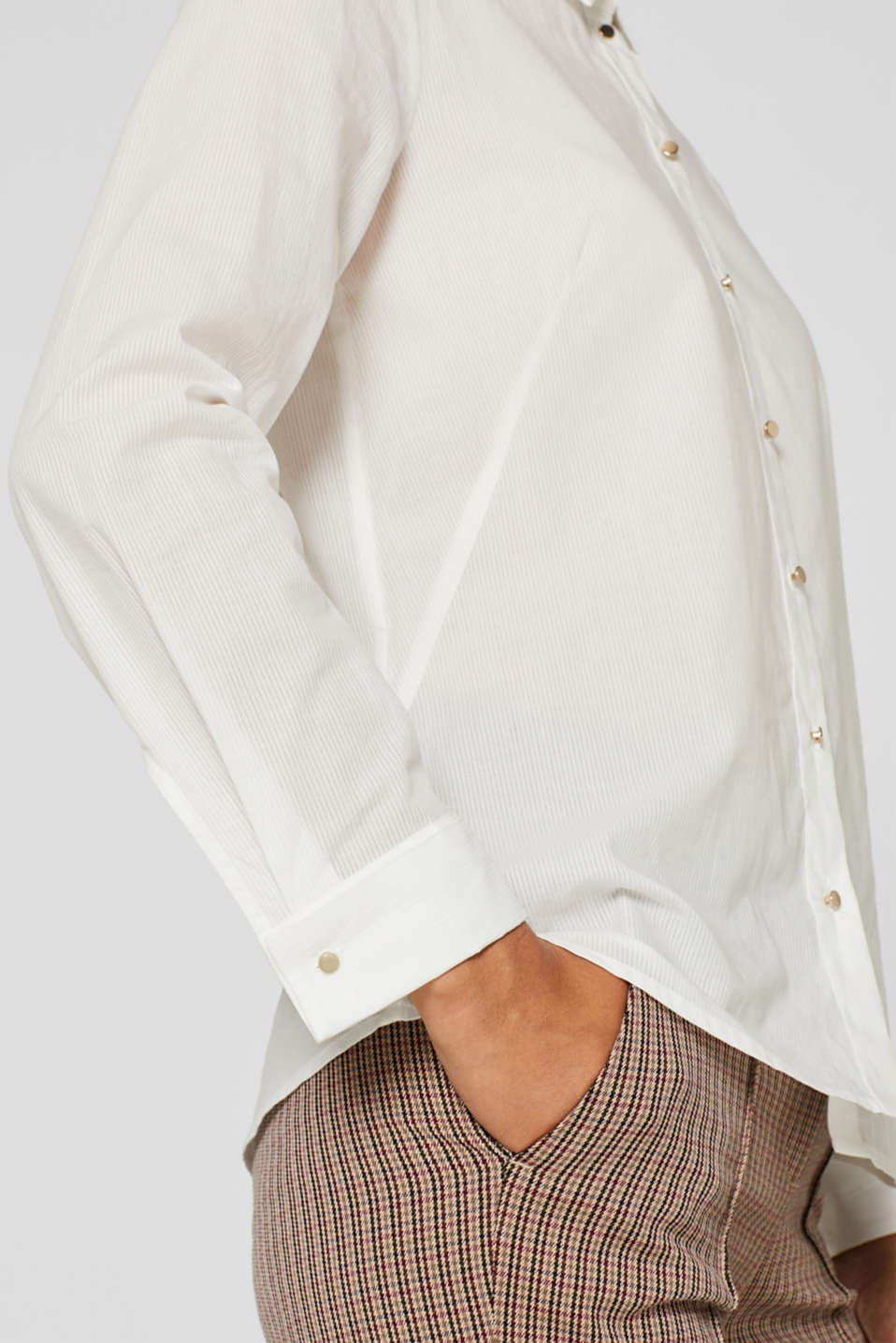 Semi-sheer striped blouse, 100% cotton, OFF WHITE, detail image number 2