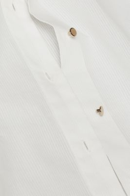 Semi-sheer striped blouse, 100% cotton, OFF WHITE, detail