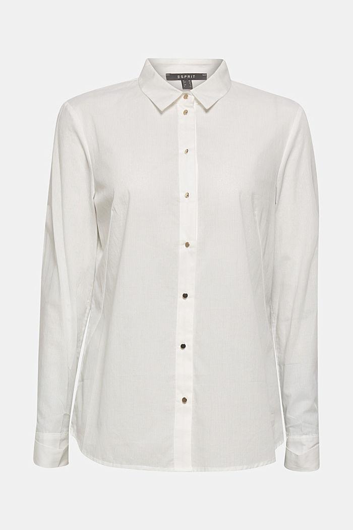 Semi-transparente Streifen-Bluse, 100% Baumwolle