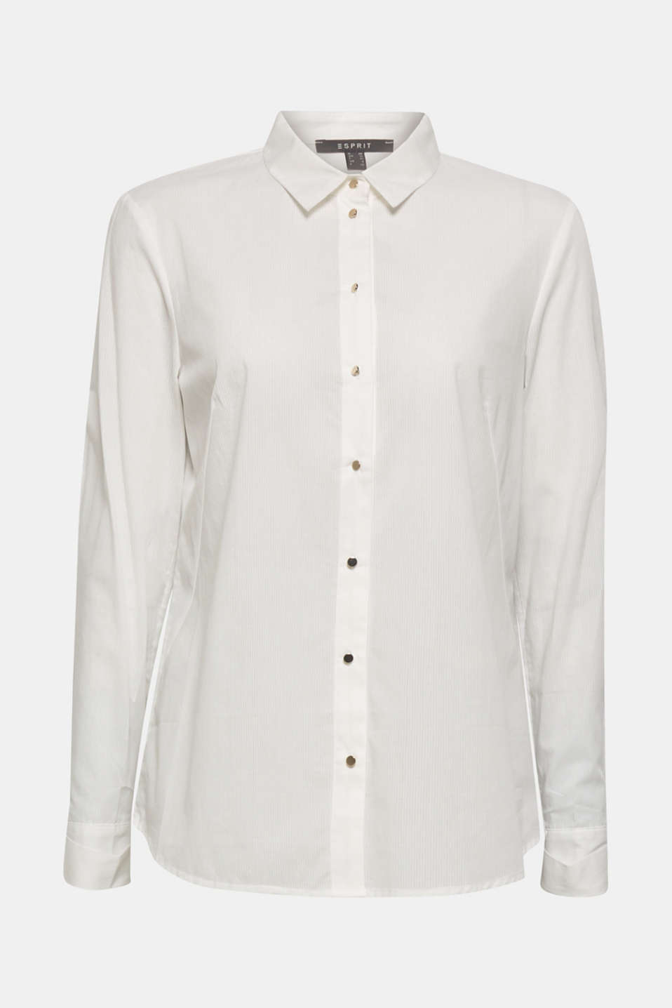 Semi-sheer striped blouse, 100% cotton, OFF WHITE, detail image number 5