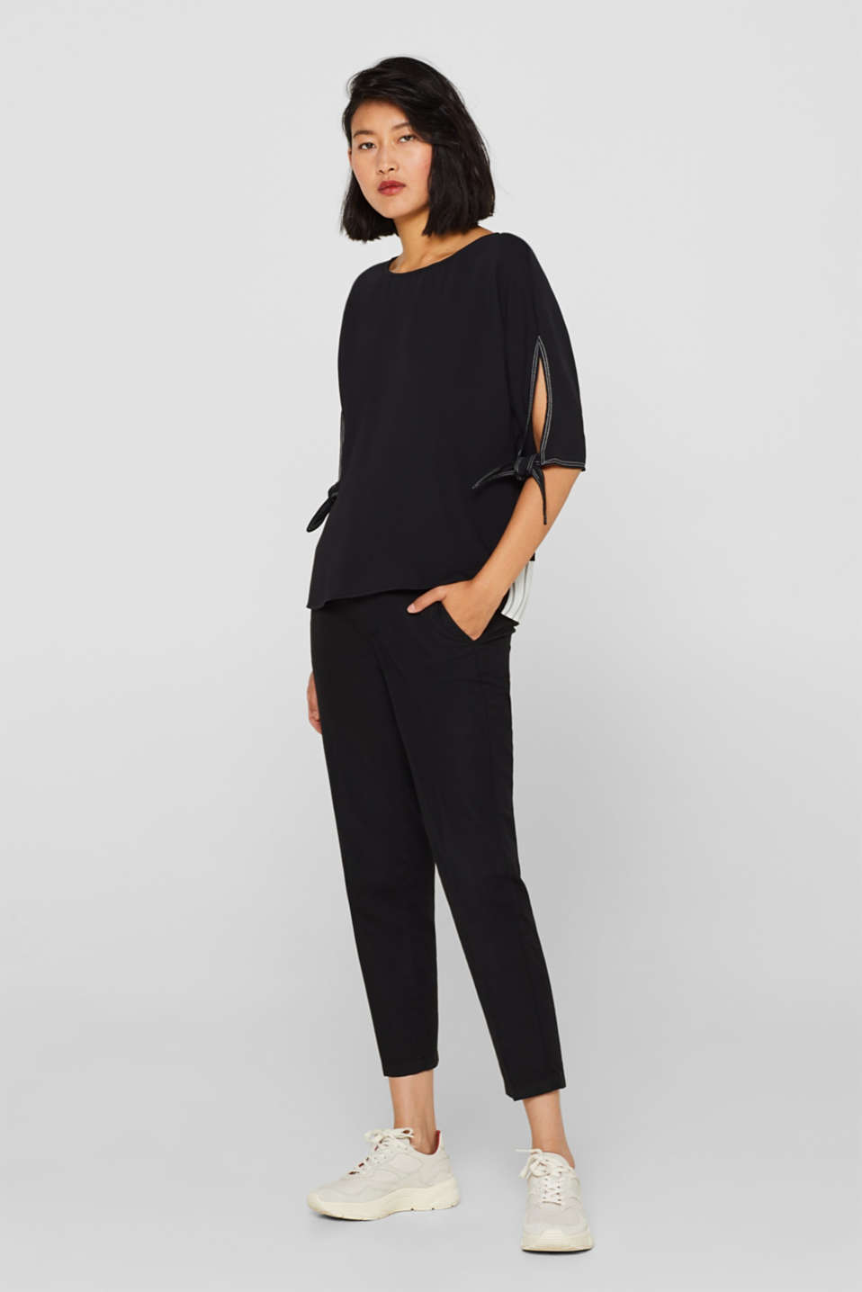 Blouse top in a layered look, BLACK, detail