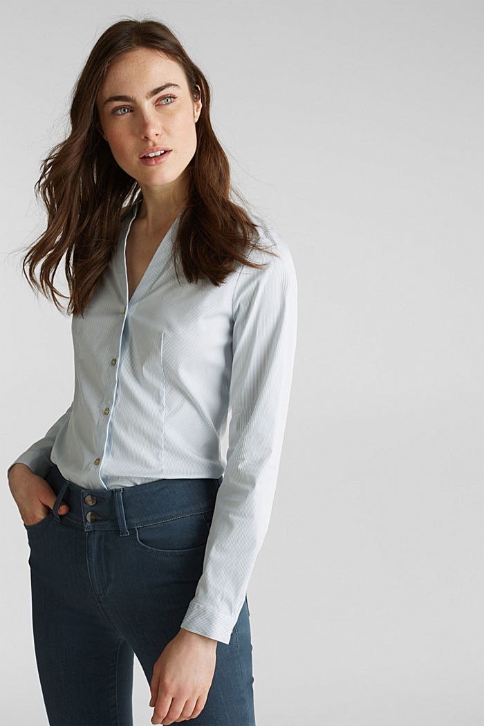 Stretch blouse with an open collar, LIGHT BLUE, detail image number 0