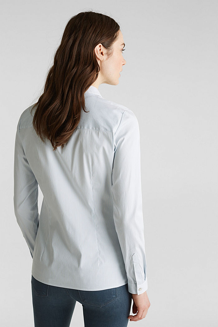 Stretch blouse with an open collar, LIGHT BLUE, detail image number 3